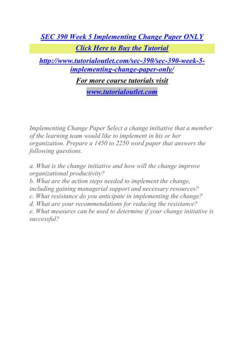 SEC 390 Week 5 Implementing Change Paper ONLY
