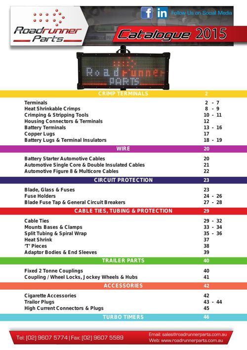 Roadrunner Parts Catalogue 2015