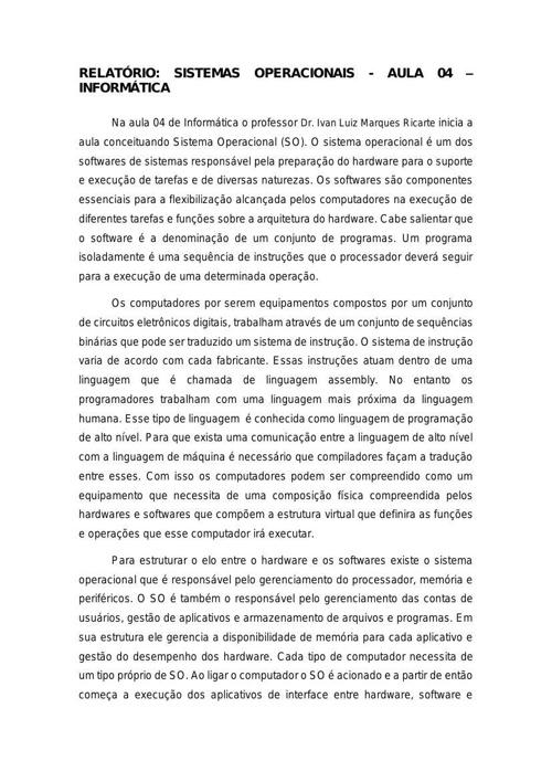 Relatório Aula 04 - Informática