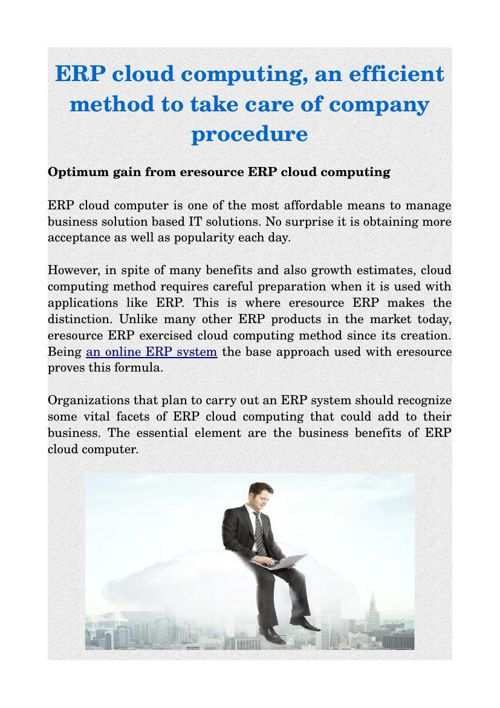 ERP cloud computing, an efficient method to take care of company