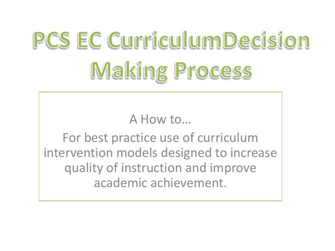 EC Curriculum Decision Making Process
