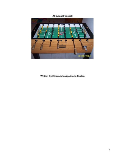 All about foosball by Ethan