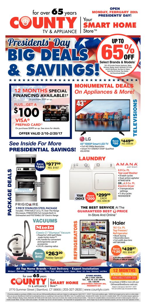 President's Day Sale at County TV!