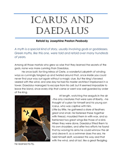 Icarus and Daedalus. Read me!