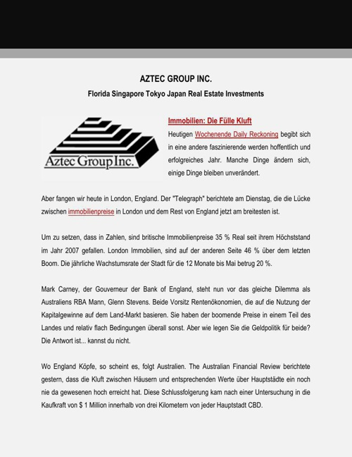 Aztec Group Inc Real Estate Investments: Die Fülle Kluft