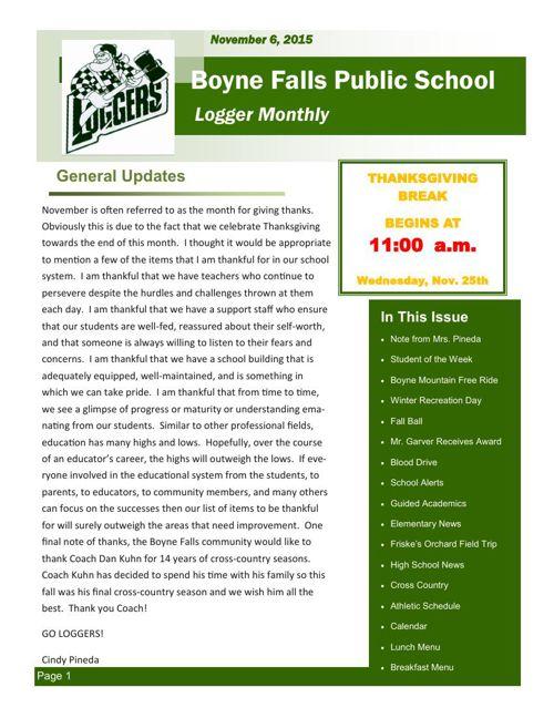 November 6, 2015 Logger Monthly