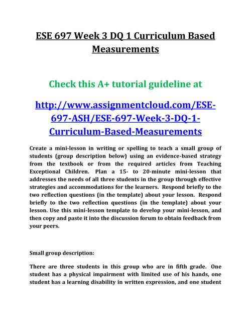 ESE 697 Week 3 DQ 1 Curriculum Based Measurements