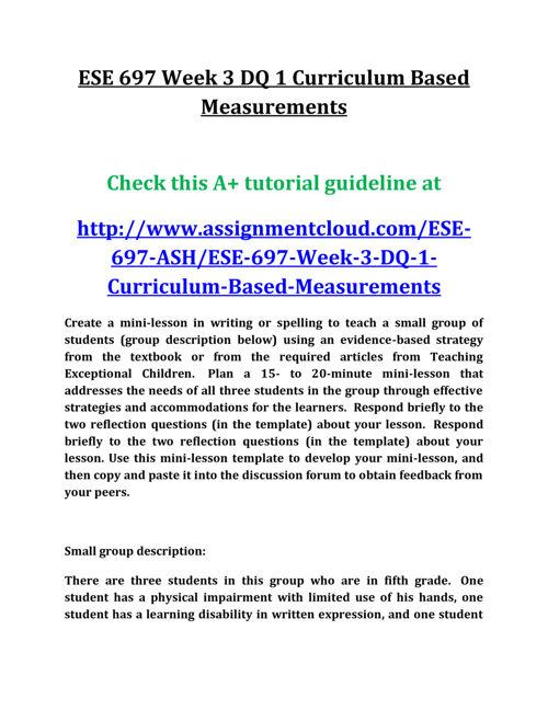 ESE 697 Week 3 DQ 1 Curriculum Based Measurements