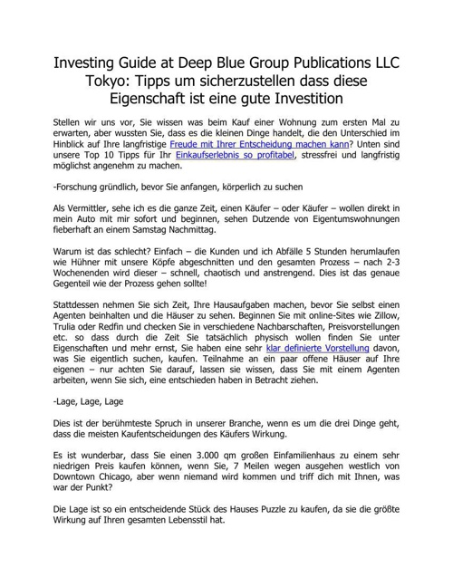 Investing Guide at Deep Blue Group Publications LLC Tokyo: Tipps