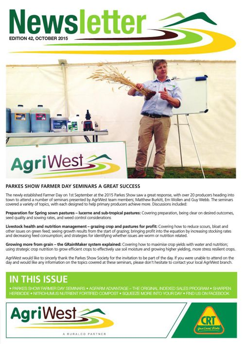 AgriWest: Newsletter - October 2015