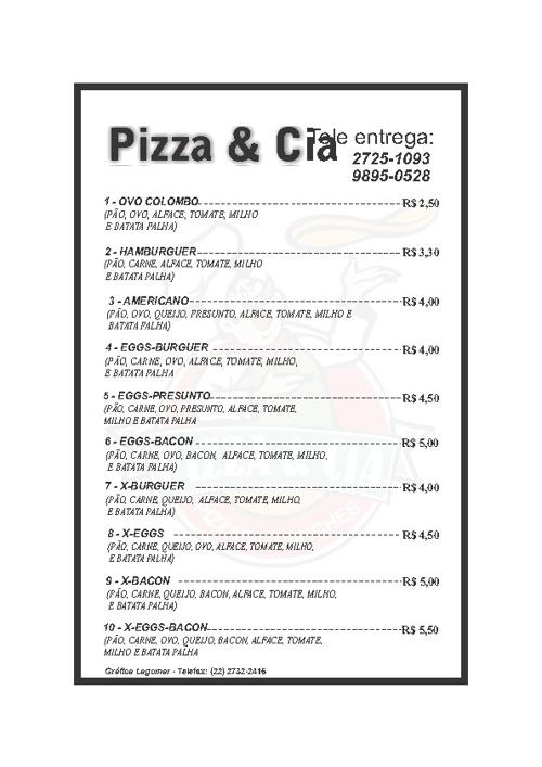 cardápio Pizza e Cia
