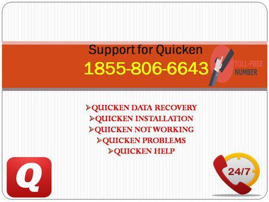 (#^)1855-806-6643  Quicken not working