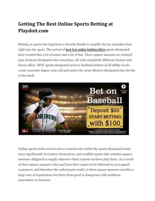 Getting The Best Online Sports Betting at Playdoit