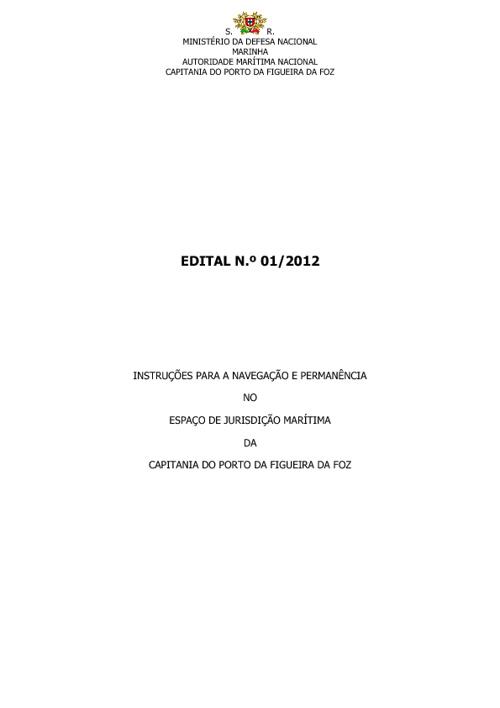 Edital 1/2012 Capitania do Porto da Figueira da Foz