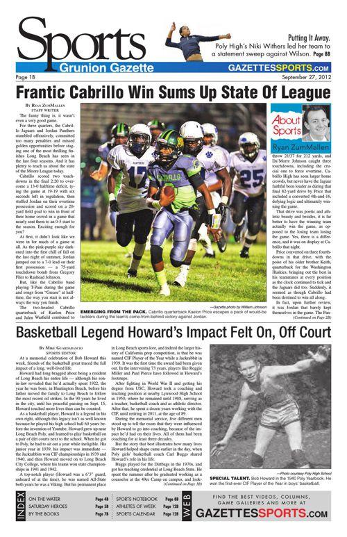 Gazette Sports | September 27, 2012