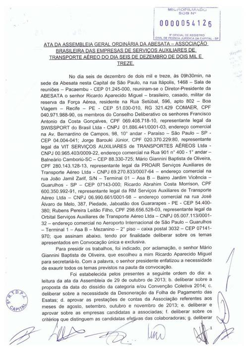 ATA da Assembléia Geral Ordinária da ABESATA - 06.12.13