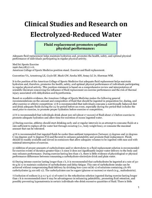 Kangen Water Clinical Research