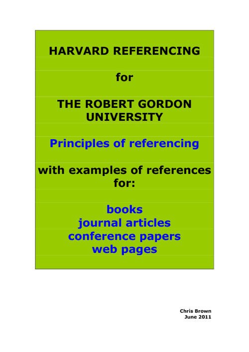 Harvard Referncing Guide. Author: Chris Brown