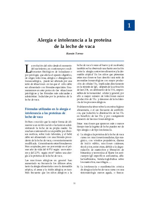 Alergia e intolerancia a la proteina de la leche de baca