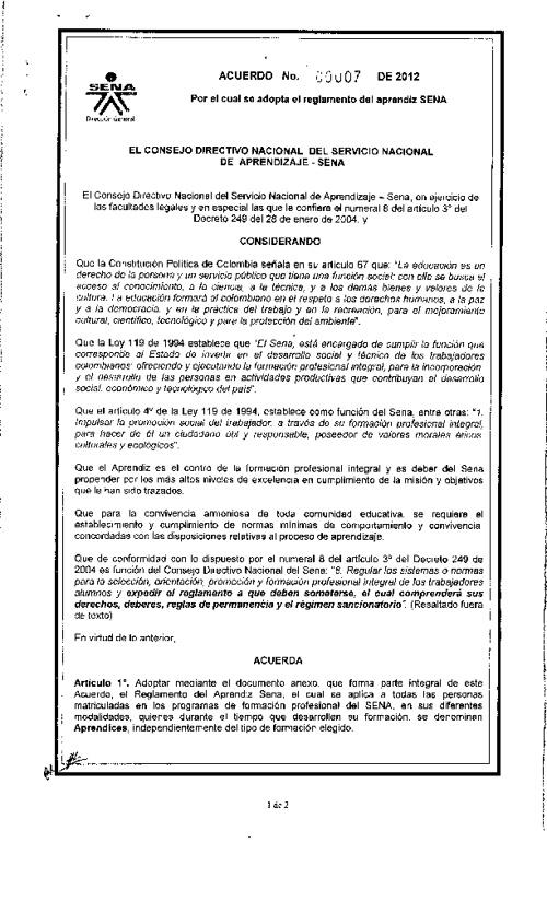 Reglamento aprendices 2012