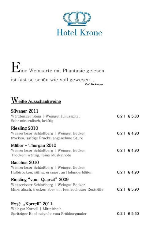 Speise- & Weinkarte Hotel-Restaurant Krone