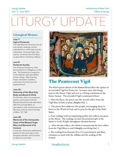 Liturgy Update June 2014