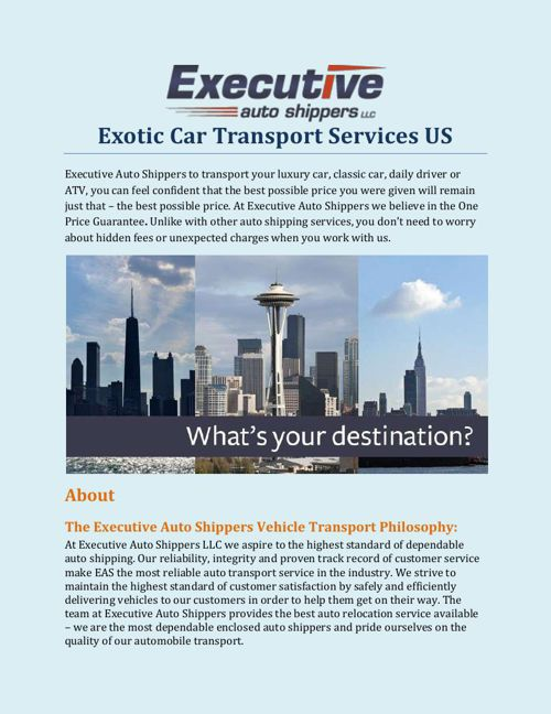 Exotic Car Transport Services US