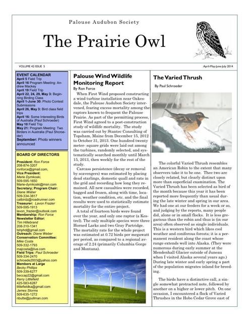 THE PRAIRIE OWL-April-June 2014