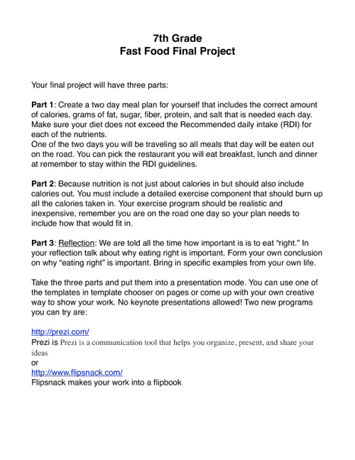 My heath fast food Project