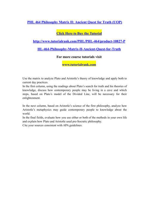PHL 464 Course Extraordinary Success/ tutorialrank.com