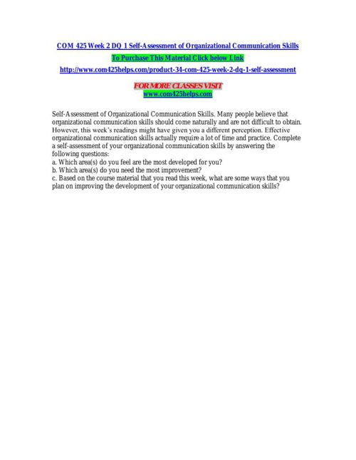 COM 425 Week 2 DQ 1 Self-Assessment of Organizational Communicat