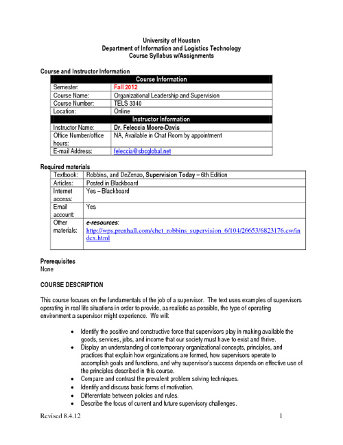 TELS 3340 Syllabus-Fall 2012