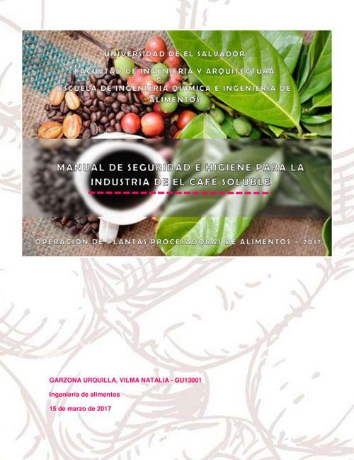 Manual de Seguridad e Higiene para la Industria de Café