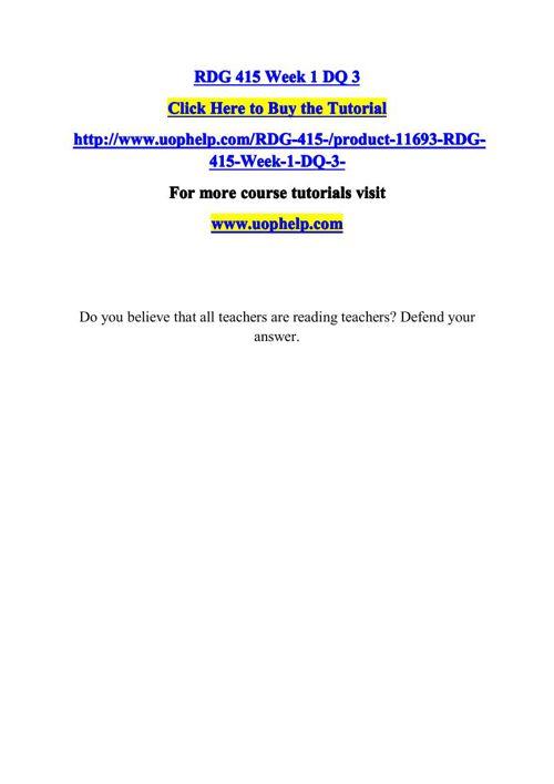 RDG 415 ACADEMIC COACH / UOPHELP