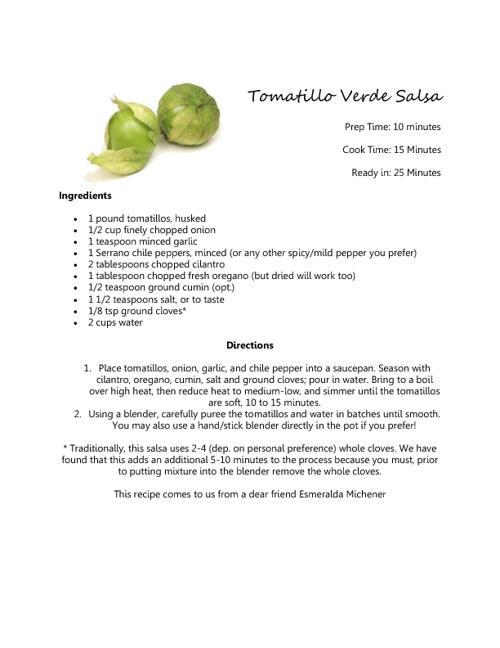 Tomatillos Recipe