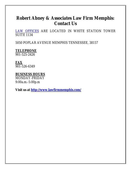 Robert Abney & Associates Law Firm Memphis: Contact Us