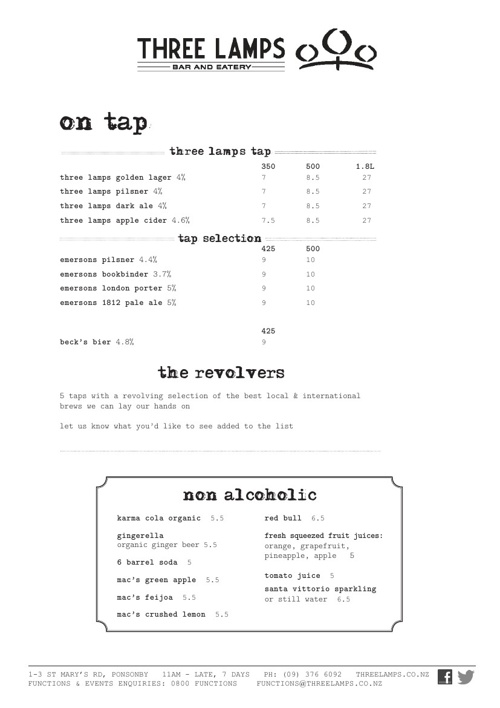 Three Lamps Beer List