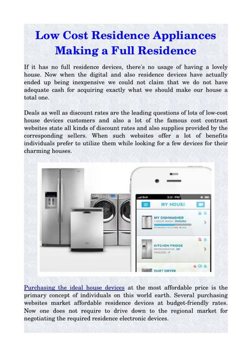 Low Cost Residence Appliances Making a Full Residence