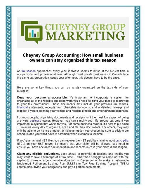 Cheyney Group Accounting: Stay organized this tax season