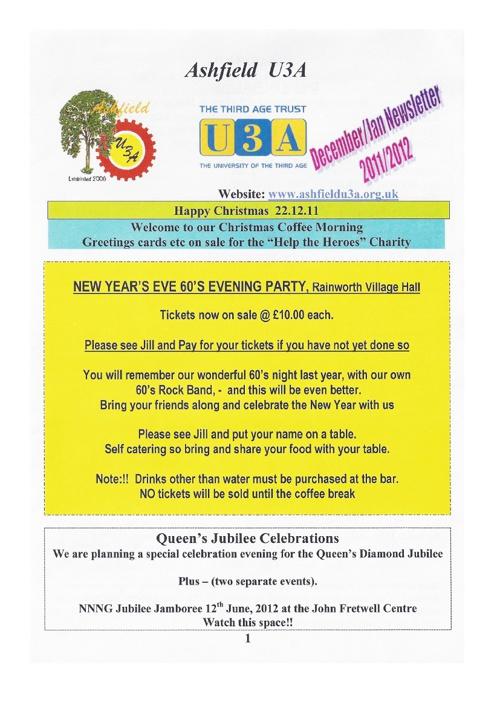 AU3A newsletter for December 2011