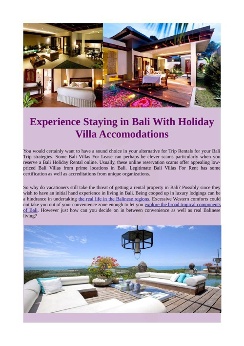 Experience Staying in Bali With Holiday Villa Accomodations