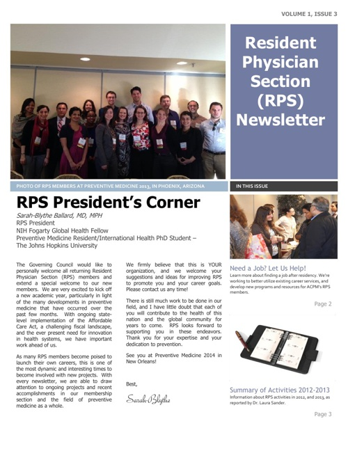 Resident Physician Section Newsletter - August 2013