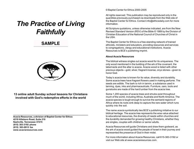 Practice of Living Faithfully