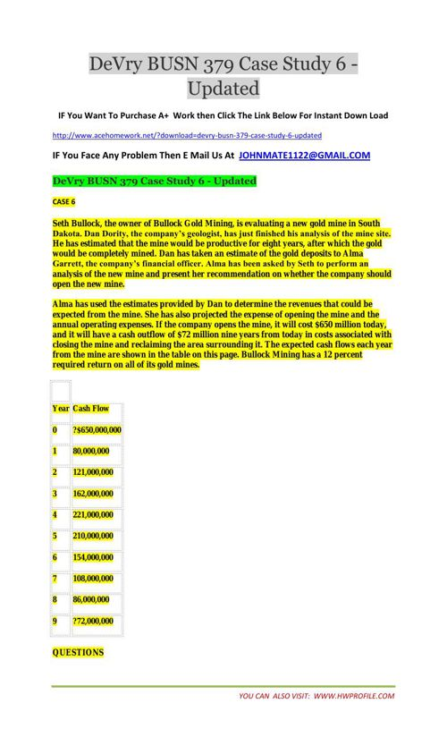 DeVry BUSN 379 Case Study 6 - Updated