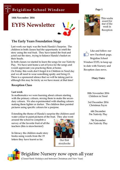 Brigidine EYFS newsletter 14.11.16