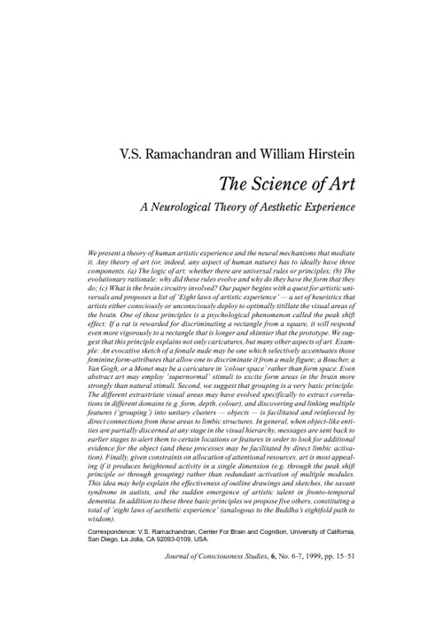 The Science Of Art - V.S. Ramachandran and William Hirstein