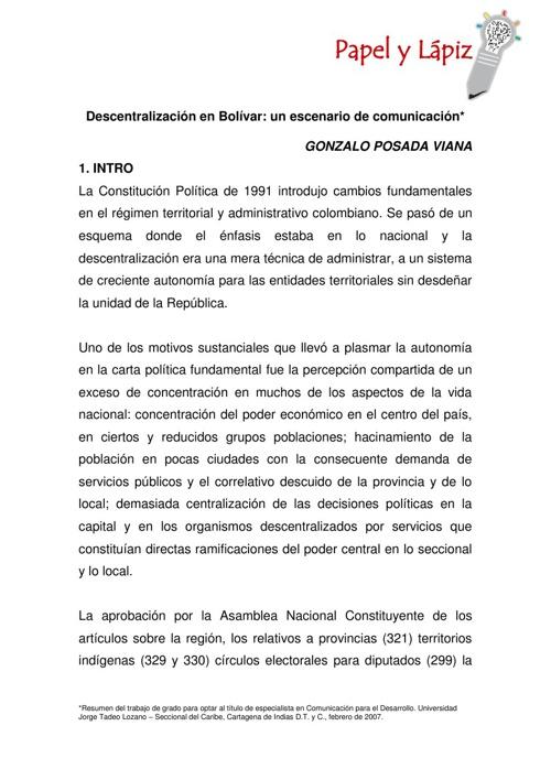 Descentralización en Bolívar: un escenario de comunicación
