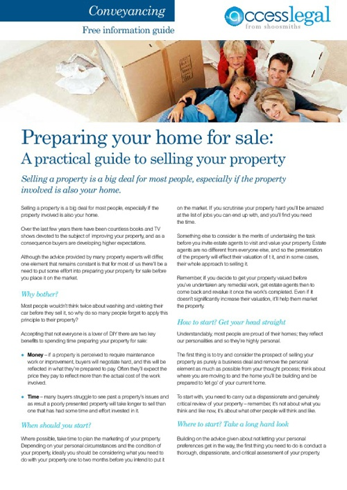 Fact Sheet - Preparing a house for sale
