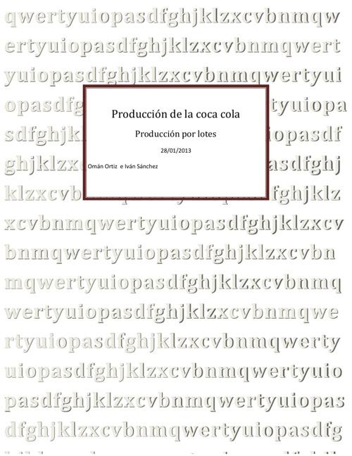 Produccion de la coca cola