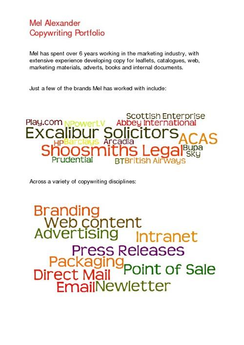 Mel Alexander: Copywriting Portfolio